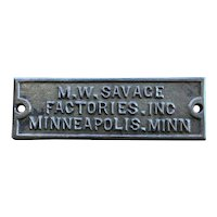 Cast Iron M. W. Savage Plaque Minneapolis Minn