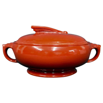 "Hall Sundial 8"" Casserole Chinese Red circa 1938"