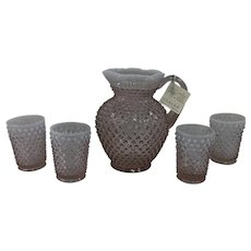 Fenton Hobnail Wisteria Opalescent Pitcher & 4 Tumblers