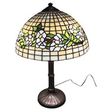 Handel Table Lamp w/ signed Slag Stain Glass Shade