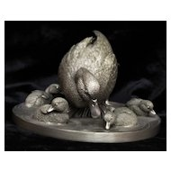 Franklin Mint Pewter Mallard Time Sculpture