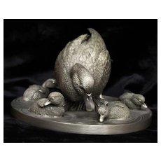 Franklin Mint Pewter Mallard Time Sculpture