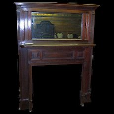 Walnut Fireplace Mantle with Mirror, Federal Colonial Style, Raised Panels