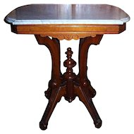 Walnut Lamp Table, Victorian Center Table,  Marble Top
