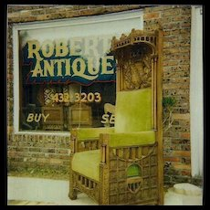 Oak Canopy Chair, Monarch Crown, Coat of Arms, Heavily Carved