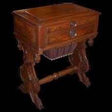 Walnut Sewing Stand, Victorian Rococo, Work Stand