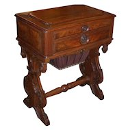 Walnut Victorian Vanity, Bag, or Sewing Table; Lift top with Mirror over Drawers