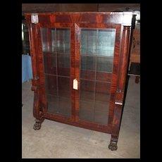 Mahogany Bookcase China Cabinet, Federal Empire Revival