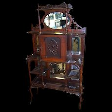 Victorian Etagere with Mirror, Galleries, Shelves, Carved Door