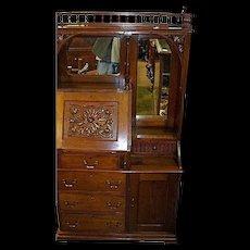 Walnut Secretary Desk, Victorian, Doors, Drawers, Carving