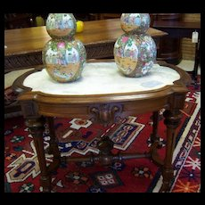 Walnut Center Table, Renaissance Revival, Inset Marble Top