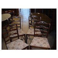 Dining Chairs, Chippendale Style Ribbon or Ladder Back, set of 4