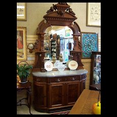 """Walnut Sideboard, Victorian Renaissance Revival, Marble Top Carved 9'5"""" tall w/ Wolf Head"""