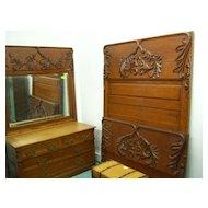 Oak Bedroom Set, High Back Bed, Dresser w/ mirror, Washstand, Bold Carving