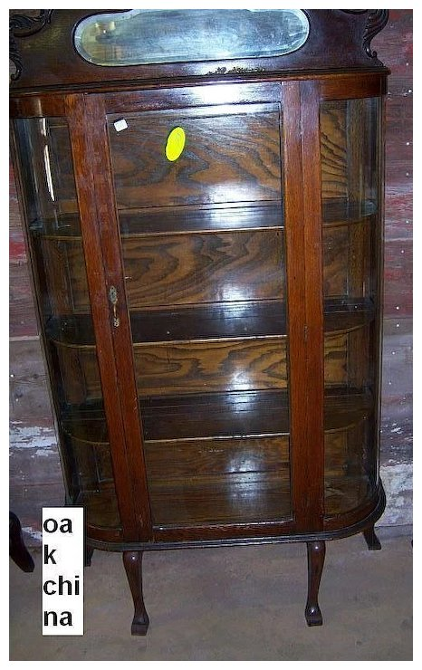 Oak Curved Glass China Cabinet - Oak Curved Glass China Cabinet : Roberts Antiques Ruby Lane