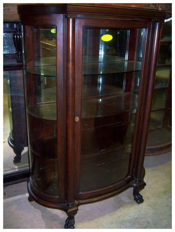 Mahogany curved Glass China Cabinet, Chippendale Federal Style - Mahogany Curved Glass China Cabinet, Chippendale Federal Style