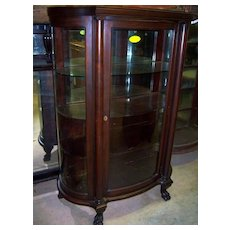 Mahogany curved Glass China Cabinet, Chippendale Federal Style