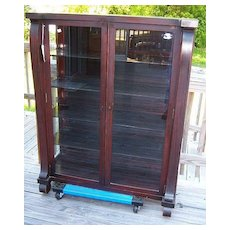 Mahogany China Cabinet, Bookcase, Empire Revival, Two Door