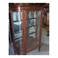 Oak Curved Glass China Cabinet, Carving