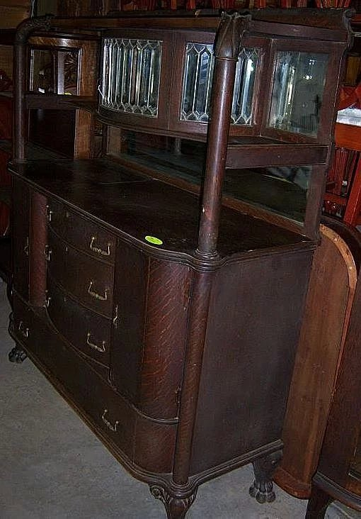 Oak Sideboard W Leaded Beveled Glass Upper China Cabinet