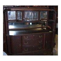 Oak Sideboard w/ Leaded Beveled Glass Upper China Cabinet and Claw Feet