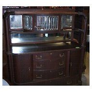 Oak Sideboard w/ Leaded Beveled Glass Upper China Cabinet and Claw Feet
