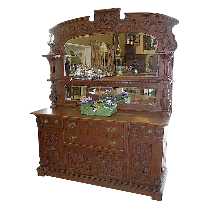 sneakers for cheap b9f03 28fb9 Oak Sideboard, Victorian, Carvings, Upper mirrors and Shelving, Ornate