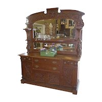 Oak Sideboard, Victorian, Carvings, Upper mirrors and Shelving, Ornate