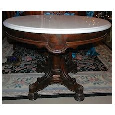 Rosewood Victorian Rococo Center Table, Lamp Table with Marble Top