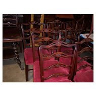 Mahogany Finish Dining Chairs, Chippendale Style Ladder Back, Set of 6