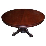 Mahogany Empire Chippendale Style Round Dining Table, 7 Leaves