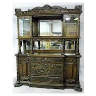 Oak Sideboard, Heavily Carved, China Cabinet Top with Beveled Glass