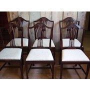 Mahogany Dining Chairs, Hepplewhite, Sheraton Style, Set of 10