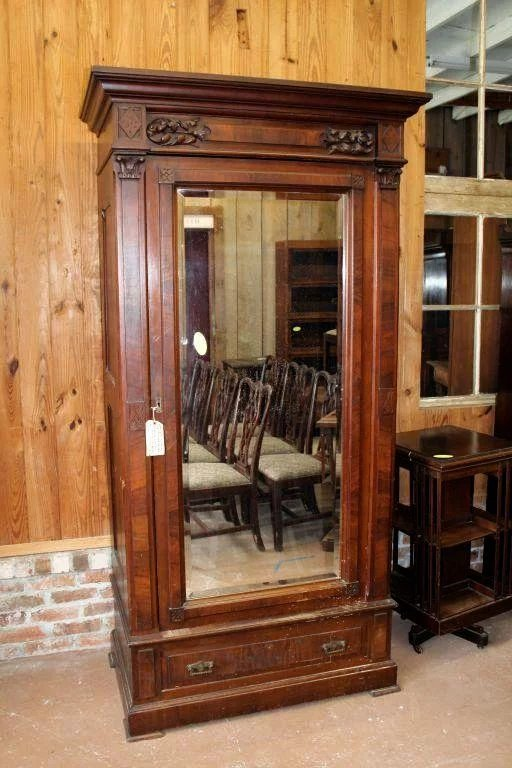 Walnut Eastlake Victorian Wardrobe Single Beveled Mirror
