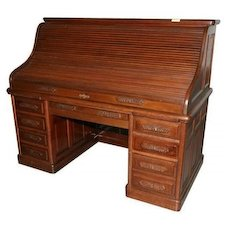 Oak Roll Top Desk, S curve, Carved Pulls, Raised Panels, 66 inch