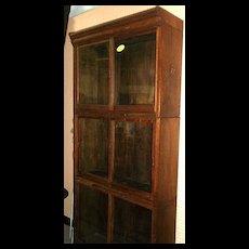Oak Danner Stacked Bookcase, Sliding Doors, Pull Out Shelf