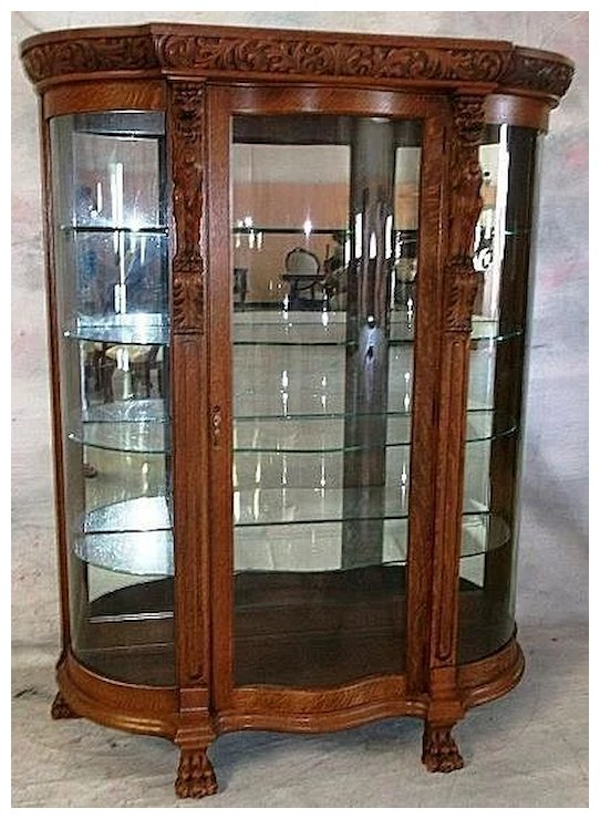 Oak Curved Glass China Cabinet, Carved Griffins - Oak Curved Glass China Cabinet, Carved Griffins : Roberts Antiques