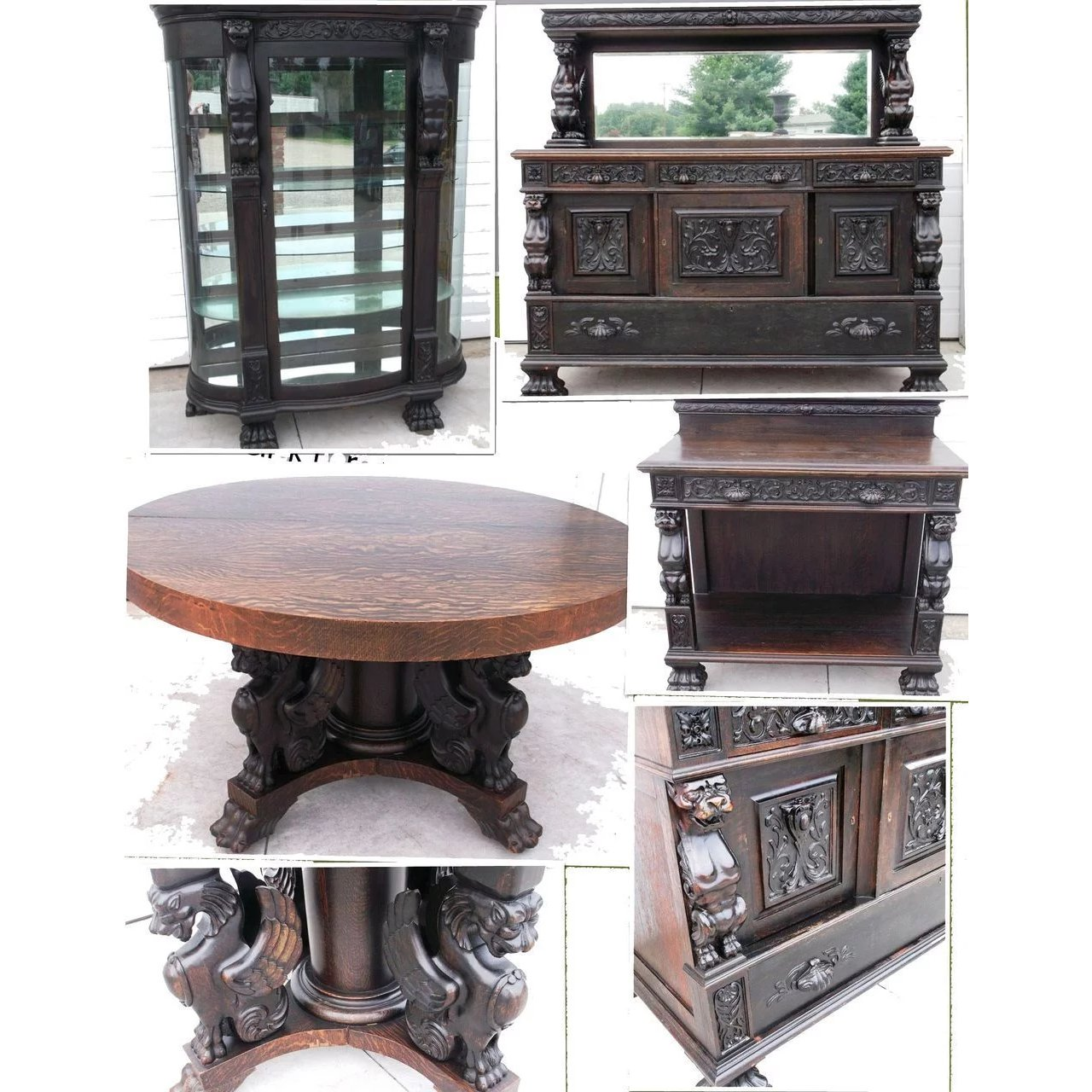 Oak Full Winged Griffins Dining Set Table China Cabinet Roberts Antiques Restorations