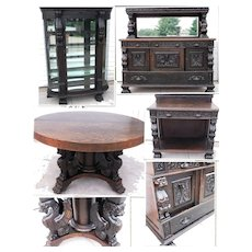 Oak Full Winged Griffins Dining Set;  Dining Table, China Cabinet, Sideboard, and Server