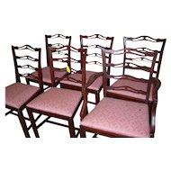 Mahogany Finish Chippendale Style Ribbon Back Chairs, Set of 6
