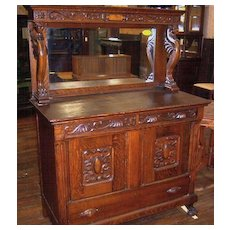 Oak Sideboard, Upper mirrors, Winged Griffins, Carving
