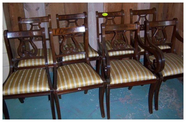 Mahogany Lyre Back Dining Chairs Federal Sheraton Style Set Of 8 Roberts Antiques Restorations Ruby Lane