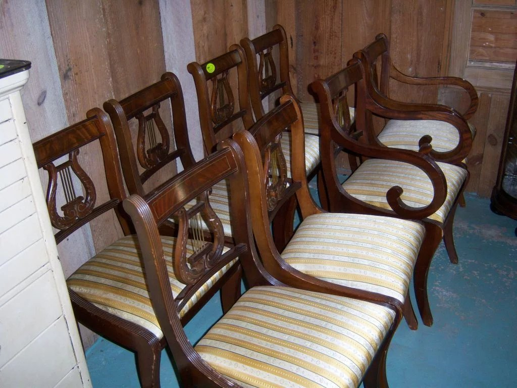 Mahogany Lyre Back Dining Chairs Federal Sheraton Style