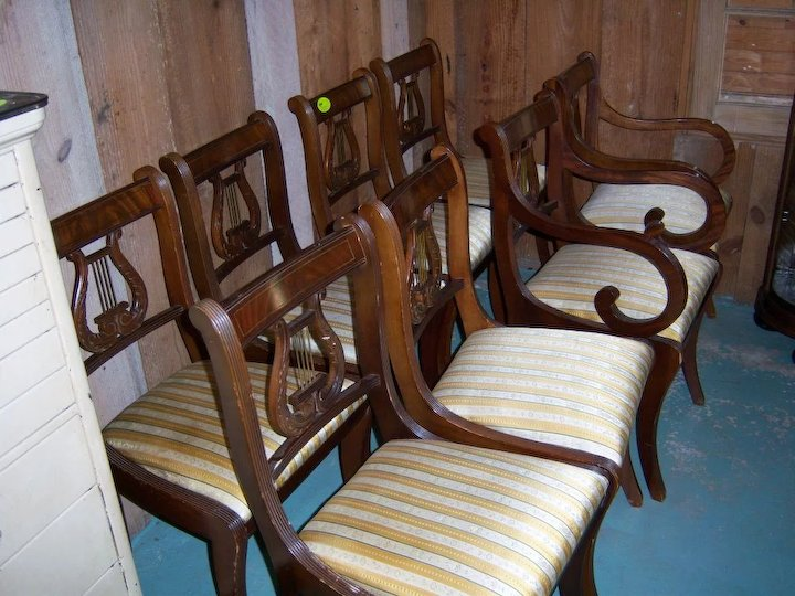 Mahogany Lyre Back Dining Chairs Federal Sheraton Style Set Of 8 - Antique  Lyre Back Dining - Antique Harp Chair Antique Furniture