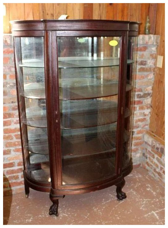 Mahogany Curved Glass China Cabinet, Paw Feet - Mahogany Curved Glass China Cabinet, Paw Feet : Roberts Antiques