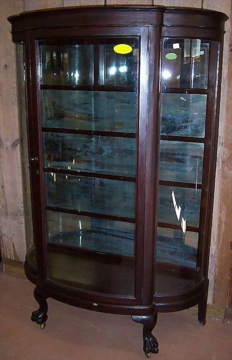 Mahogany Curved Glass China Cabinet Paw Feet - Antique Curved Glass Display  Cabinet – Hum Home - Antique China Cabinet Curved Glass Antique Furniture