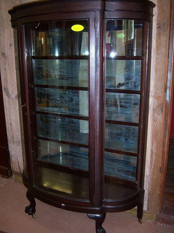 Mahogany Curved Glass China Cabinet Paw Feet Roberts