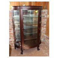 Mahogany Curved Glass China Cabinet, Paw Feet