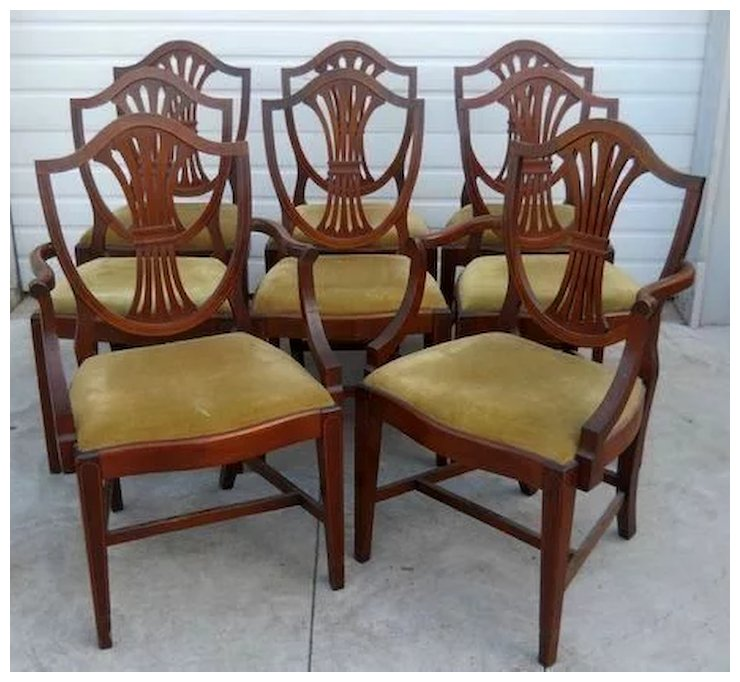 Mahogany Dining Chairs, Federal Hepplewhite Style, Set of 8 - Mahogany Dining Chairs, Federal Hepplewhite Style, Set Of 8
