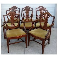 Mahogany Dining Chairs, Federal Hepplewhite Style, Set of 8